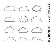 cloud vector icon set on blue... | Shutterstock .eps vector #1309449211