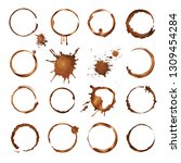 coffee circles. dirty rings... | Shutterstock .eps vector #1309454284