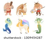 mythical creatures. flying lion ... | Shutterstock .eps vector #1309454287