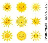 sun flat emoji. funny summer... | Shutterstock .eps vector #1309470577