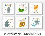 vector cute hand drawing africa ... | Shutterstock .eps vector #1309487791