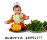 one small little girl preparing ... | Shutterstock . vector #130951979