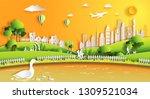 paper art style of landscape... | Shutterstock .eps vector #1309521034