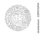 law and justice concept in thin ... | Shutterstock .eps vector #1309576954