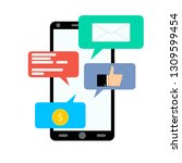 notification on smartphone ... | Shutterstock . vector #1309599454