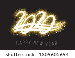 2020 new year. text golden with ... | Shutterstock .eps vector #1309605694