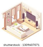 vector isometric living room... | Shutterstock .eps vector #1309607071