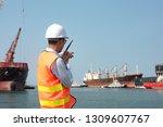 harbor master port control in... | Shutterstock . vector #1309607767