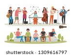 young people playing various...   Shutterstock .eps vector #1309616797