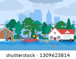 flood city street covered with... | Shutterstock .eps vector #1309623814