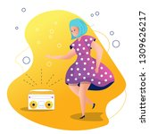 girl dancing to music from a... | Shutterstock .eps vector #1309626217