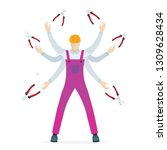 young worker with six hands and ... | Shutterstock .eps vector #1309628434