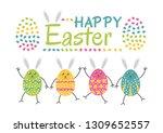 happy easter. set of easter... | Shutterstock .eps vector #1309652557
