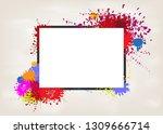 vector frame on splash color... | Shutterstock .eps vector #1309666714