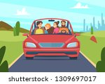 happy family in car. people... | Shutterstock .eps vector #1309697017
