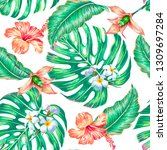 floral seamless vector tropical ... | Shutterstock .eps vector #1309697284
