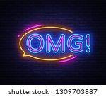 omg neon sign vector. omg pop... | Shutterstock .eps vector #1309703887