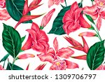 floral seamless vector tropical ... | Shutterstock .eps vector #1309706797