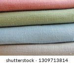 pile of linen fabric background. | Shutterstock . vector #1309713814