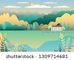 rural valley farm countryside.... | Shutterstock .eps vector #1309714681