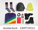 set of stylish clothes and... | Shutterstock . vector #1309719211