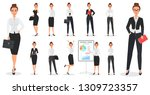 set of young pretty business... | Shutterstock . vector #1309723357