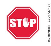 stop road sign. prohibited... | Shutterstock .eps vector #1309727434