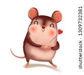 cute little rat. zodiac symbol...   Shutterstock .eps vector #1309732381