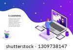 landing page template of online ... | Shutterstock .eps vector #1309738147