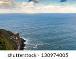 Aerial view to Nordeste lighthouse at Atlantic ocean, San Miguel, Azores, Portugal - stock photo