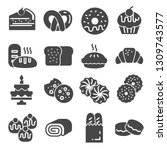 bakery icon set   gray icon... | Shutterstock .eps vector #1309743577
