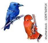 watercolor exotic birds... | Shutterstock . vector #1309760914