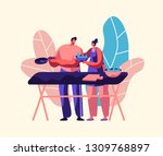 couple cooking fresh salad... | Shutterstock .eps vector #1309768897