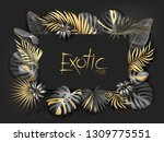 gold palm leaves pattern black... | Shutterstock .eps vector #1309775551
