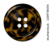Stock photo tortoiseshell button isolated on white background computer generated image with clipping path 130978454