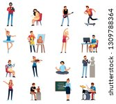 people hobbies. photographer... | Shutterstock .eps vector #1309788364