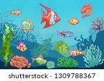 underwater seascape. cartoon... | Shutterstock .eps vector #1309788367