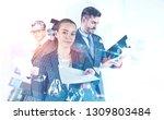 attractive young businesswoman... | Shutterstock . vector #1309803484