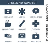 9 aid icons. trendy aid icons... | Shutterstock .eps vector #1309809907
