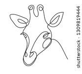 one line giraffe design. hand... | Shutterstock .eps vector #1309819444