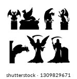 black silhouettes of gothic... | Shutterstock .eps vector #1309829671