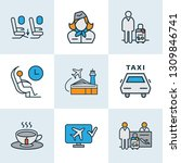 traveling icons colored line... | Shutterstock .eps vector #1309846741