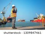 harbor master port control in... | Shutterstock . vector #1309847461