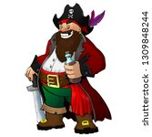 cartoon pirate with rum and... | Shutterstock .eps vector #1309848244