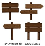 wooden sings set isolated on...