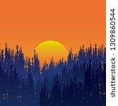 sunset forest  silhouette of... | Shutterstock .eps vector #1309860544