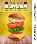 fresh flying hamburger with...   Shutterstock .eps vector #1309867861