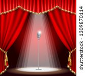 theater stage  with microphone... | Shutterstock .eps vector #1309870114