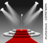 red carpet with ladder and... | Shutterstock .eps vector #1309878094