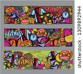 cartoon hand drawn doodles... | Shutterstock .eps vector #1309892944